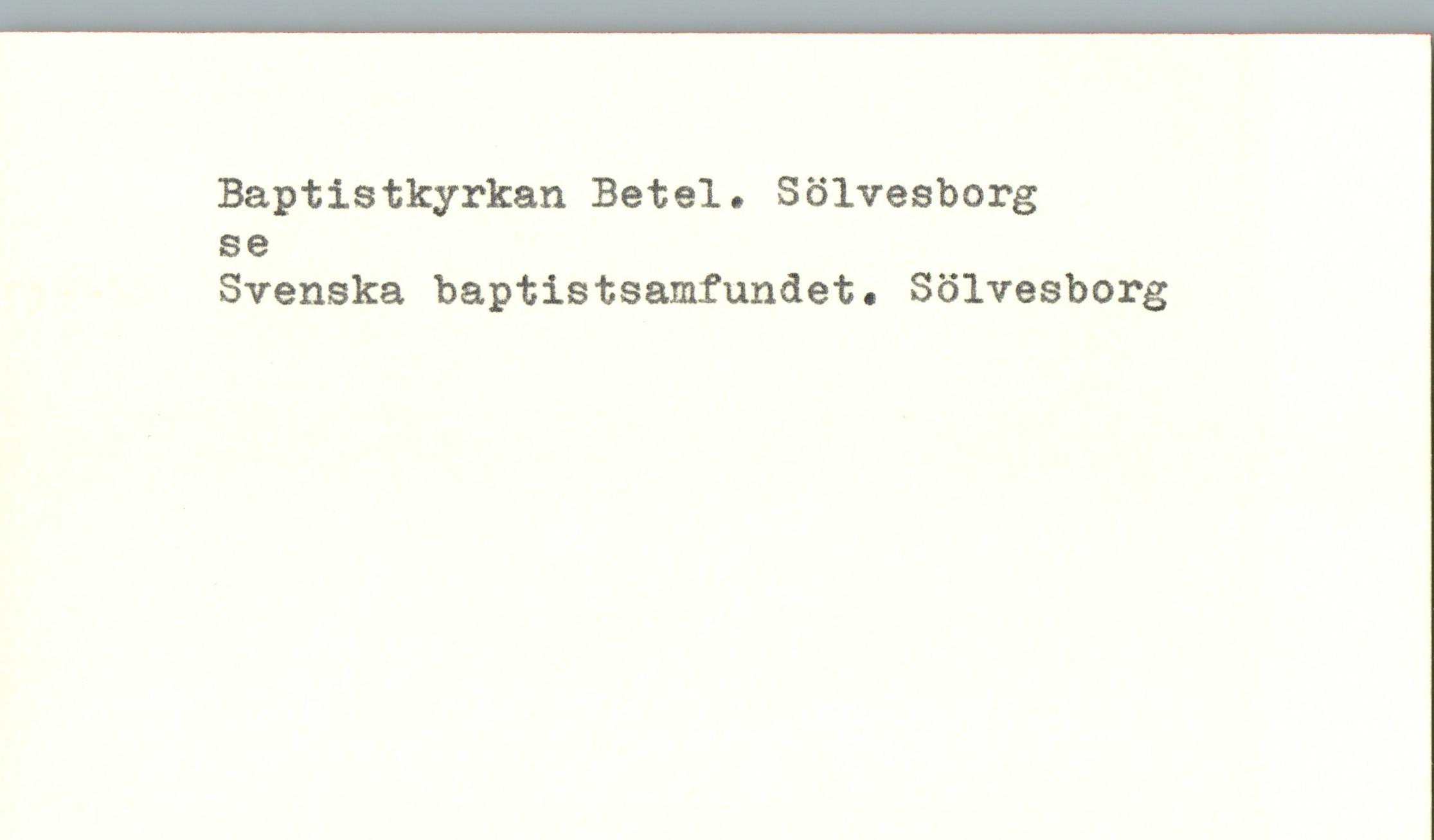 1235 Baptistkyrkan Betel Solvesborg